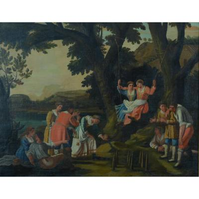 Large 18th Century Painting Jacques Stella The Game Of Bowling Animated Landscape Sport