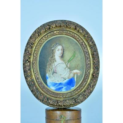 17th Table Old Portrait Saint Catherine Of Alexandria Vellum Golden Wood Frame