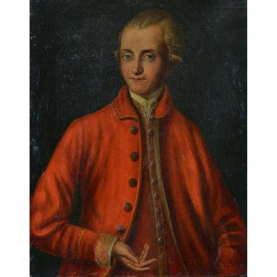 Beautiful Old Painting Portrait Young Man Red Suit Wig Italy 18th