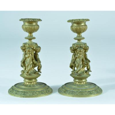 Old Pair Of Bronze Candlestick 3 Putti Amour Column Louis XVI 19th