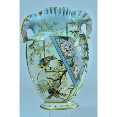 Vase Ancien Opaline Email Napoleon 3 Saint Louis Baccarat Rose Grue Japonisme