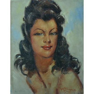Beau Tableau Ancien Portrait Jeune Femme Parisienne Guinegault Montparnasse 1940 Domergue
