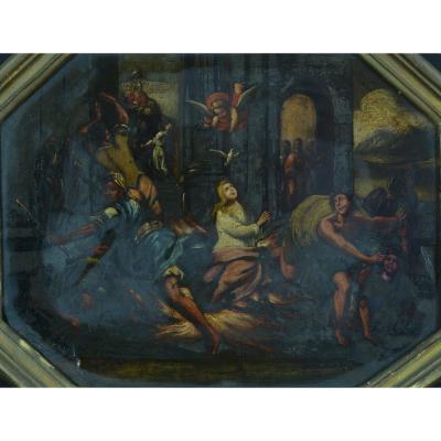 Rare Tableau Ancien 17 ème Sur Ardoise Scène Religieuse Pentecôte Ange Vierge Pentecôte