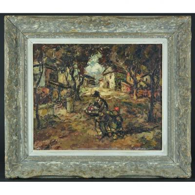 Beautiful Table Old Animated Expressionist Landscape Village Vagh Weinmann