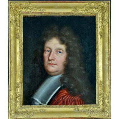 Beautiful Painting Old Portrait 17th Man Gray Wig Costume Philippe Vignon
