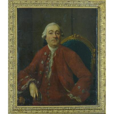 Large Old Painting Portrait Man Wig Red Costume Louis XV Period Frame