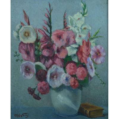 Ancien Tableau Bouquet De Pivoine 1930 Nature Morte Oeillets Cadre Signé Alphonse Fauré