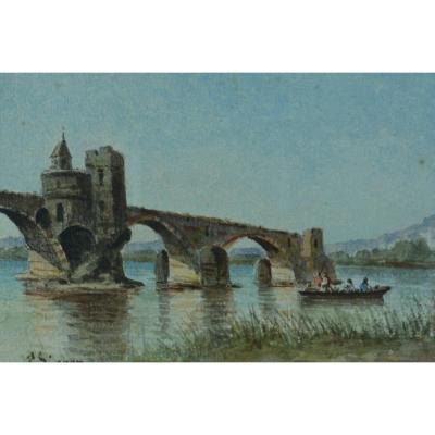 Paul Seignon  Tableau Ancien Aquarelle Avignon Le Pont Saint-bénézet Provence