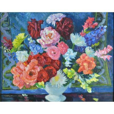 Grand Tableau Ancien Berthommé Saint André Nature Morte Bouquets De Fleurs Pivoines Cadre HST