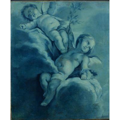 François Boucher Ancien Tableau Amour Portrait Putti Anges Nuées Ciel  18ème