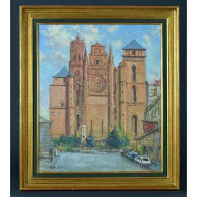 Beau Tableau Ancien Marcel Boudou Vue De Rodez Aveyron La Cathédrale Notre Dame