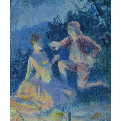 Beau Tableau Rochegrosse Portrait Diner Couple Champagne Romantique La Nuit 19e