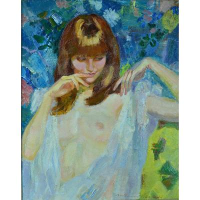 Berthomme Saint-andré Large Old Erotic Painting Portrait Young Woman Eve Naked Redhead Nuisett