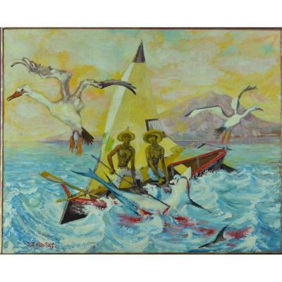 Jacques Allonsius Beau Modern Painting 50 'martinique Landscape Shark Fishing Marine Portrait
