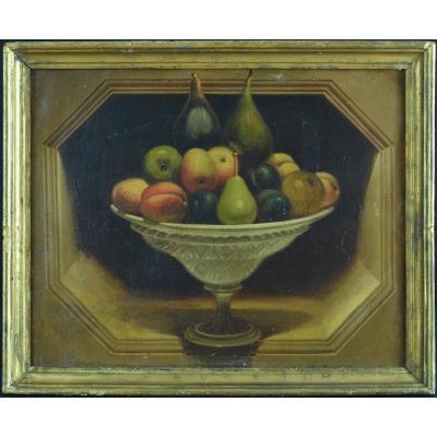 Tableau Ancien Trompe L'oeil 18 ème Nature Morte Alcôve Coupe Fruits