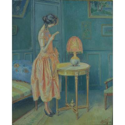 Beautiful Old Art Deco Painting Portrait Of Young Elegant Woman Reading Living Room Sv Enjolras