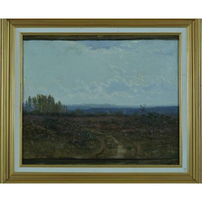 Beautiful Table Old Sky Landscape Bruyères Dordogne Signed Didier Pouget Napoleon 3