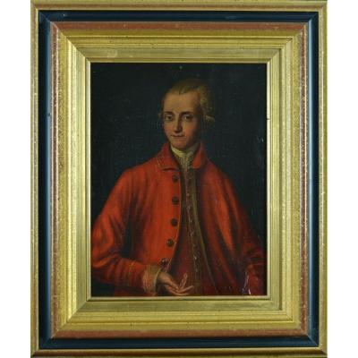 Tableau Ancien Portrait Homme Costume Rouge Perruque Italie 18ème Sv Pompeo Batoni