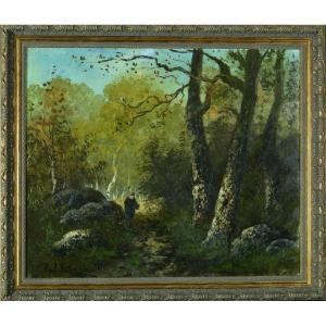 Beautiful Old Painting Animated Landscape 19th Paul Astier Barbizon Diaz Frame Hst