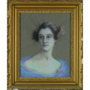 Rare Tableau Ancien Pastel Art Nouveau Portrait De Jeune Femme à La Robe Bleu