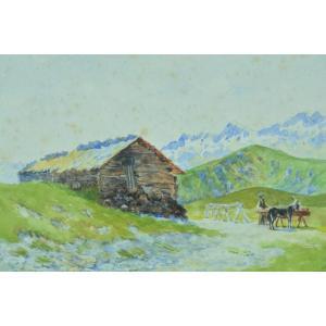Ancien Tableau Montagne Pyrénées Superbagnères Âne Bergerie Jean Marius Bugnard