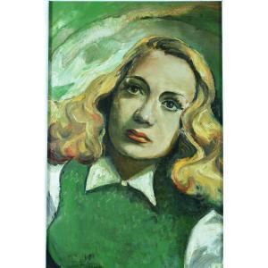 Tableau Ancien Portrait Jeune Femme Blonde 1950 Pin Up Cinema Schmidt Harcourt Actrice