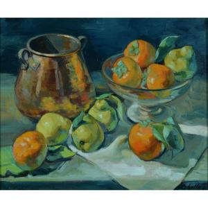 Beautiful Old Table Barcelona Oliver Ribalta Still Life Fruits Pears Quinces