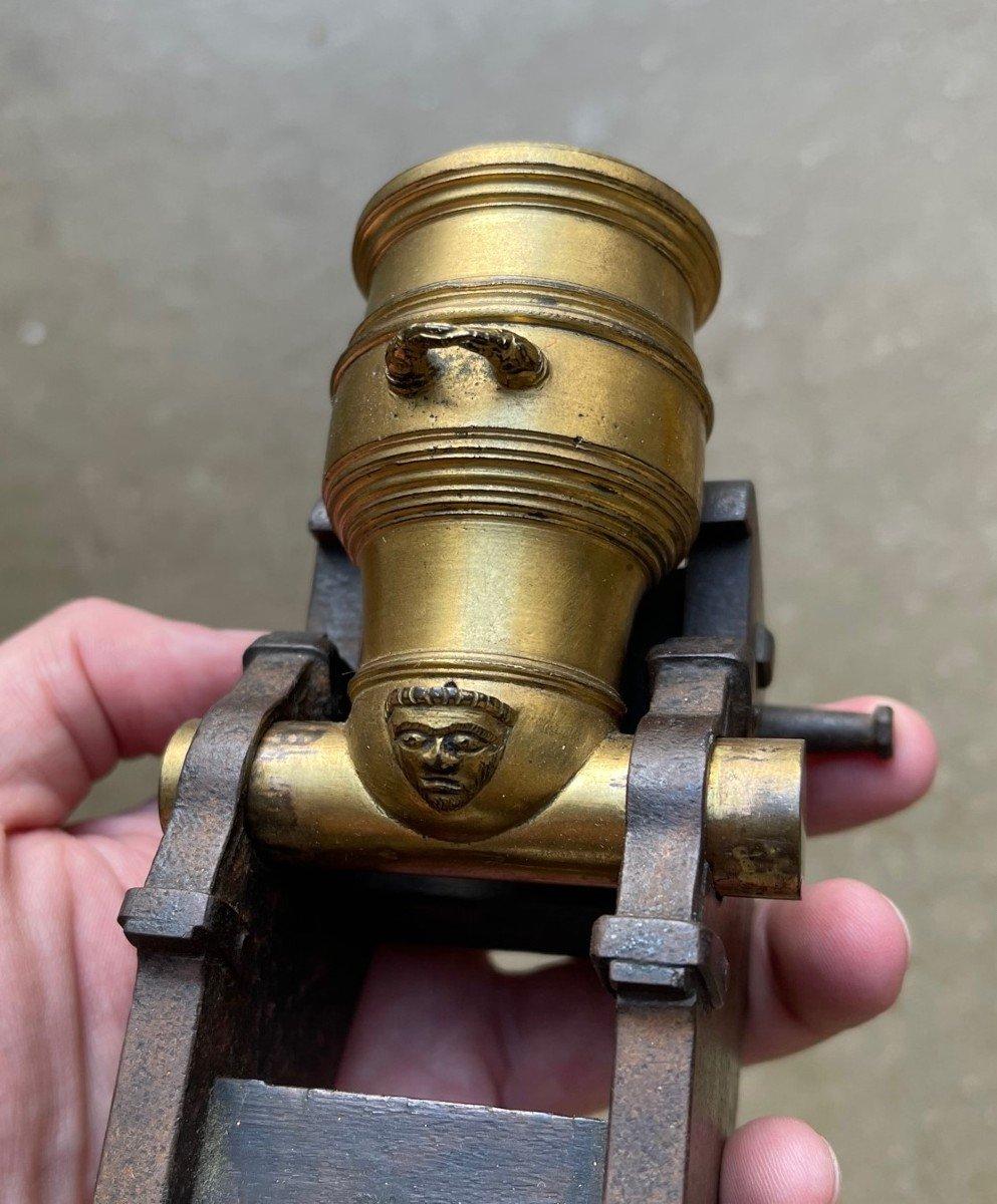 Mortier Miniature En Bronze Doré. France fin XVIIIe Siècle-photo-5