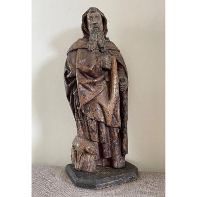 Statue Gothique en chêne De Saint-antoine.