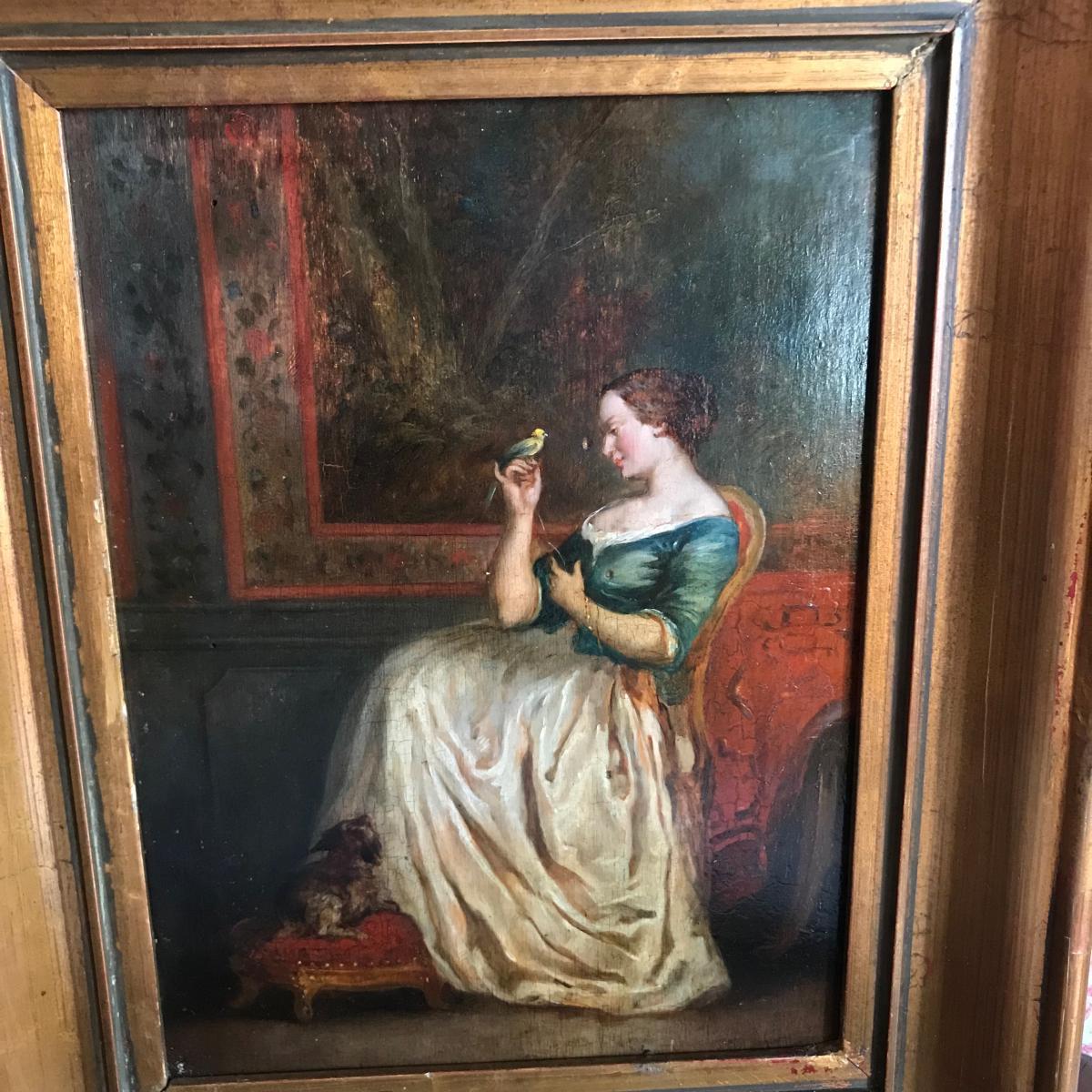 Ecole Française Vers 1820 : Jeune Femme à l'Oiseau