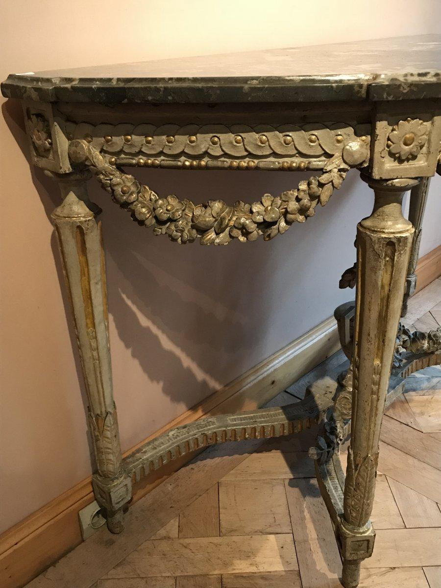 Console Demi-lune En Bois Peint Et Doré d'époque Louis XVI