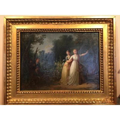 Van Gorp Henri Nicolas :Deux jeunes femmes épiées par un indiscret.