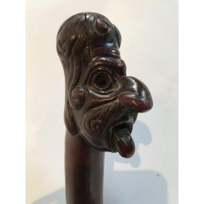 Canne Art Populaire En Buis Sculpté XIXème Siècle