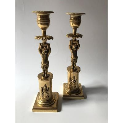 Pair Of Candlesticks In Chiseled And Gilded Bronze Early XIXth Century