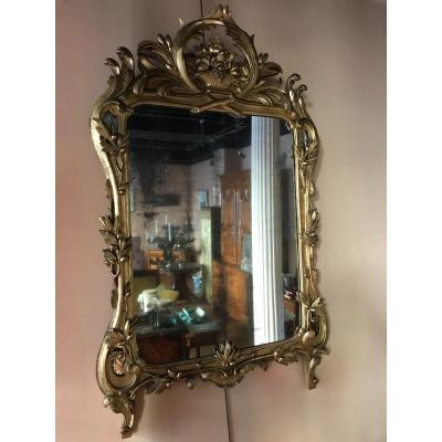 Miroir Louis XV En Bois sculpté et doré  XVIIIème Siècle