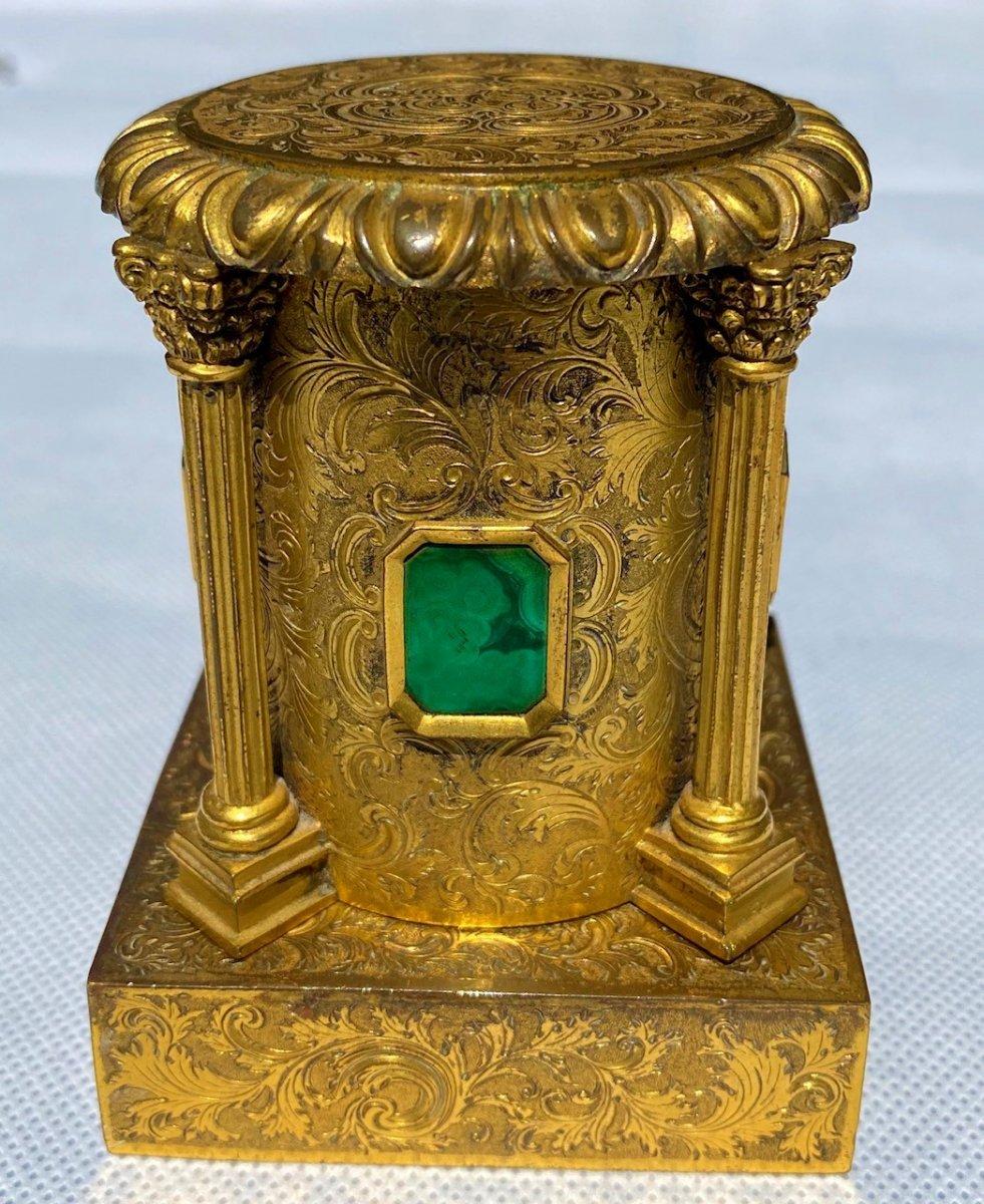 Encrier Russe en bronze doré et malachite, 19ème