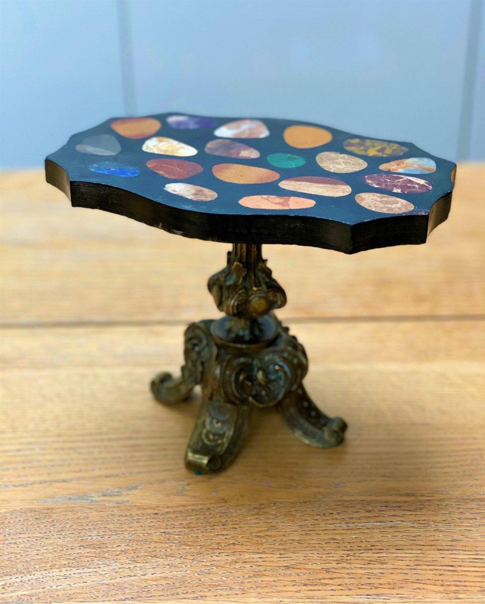 Meuble Miniature. Table Grand Tour En Pierres Dures Et Marbres, Lapis, Malachite, Améthyste…