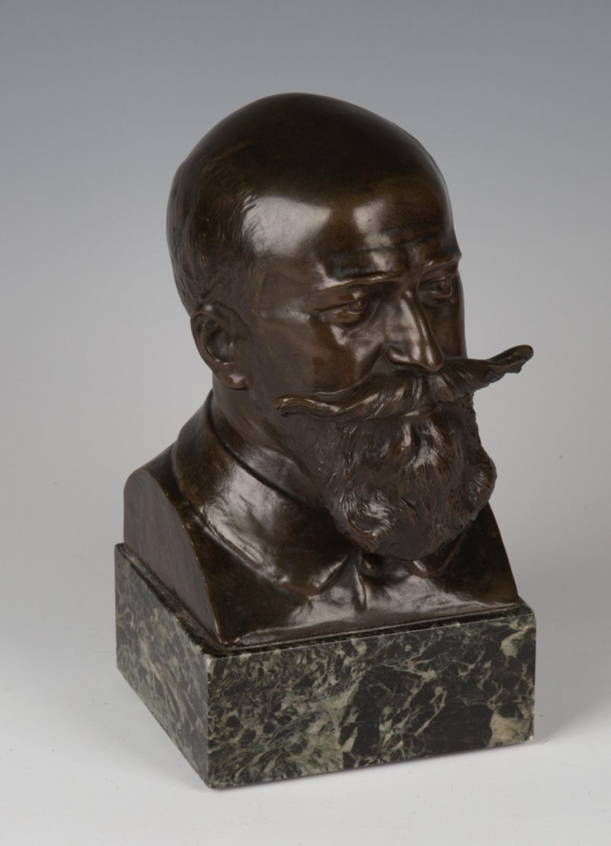 Jules-louis Rispal (french, 1871-1910), Bronze Bust Of Camille Cousteau