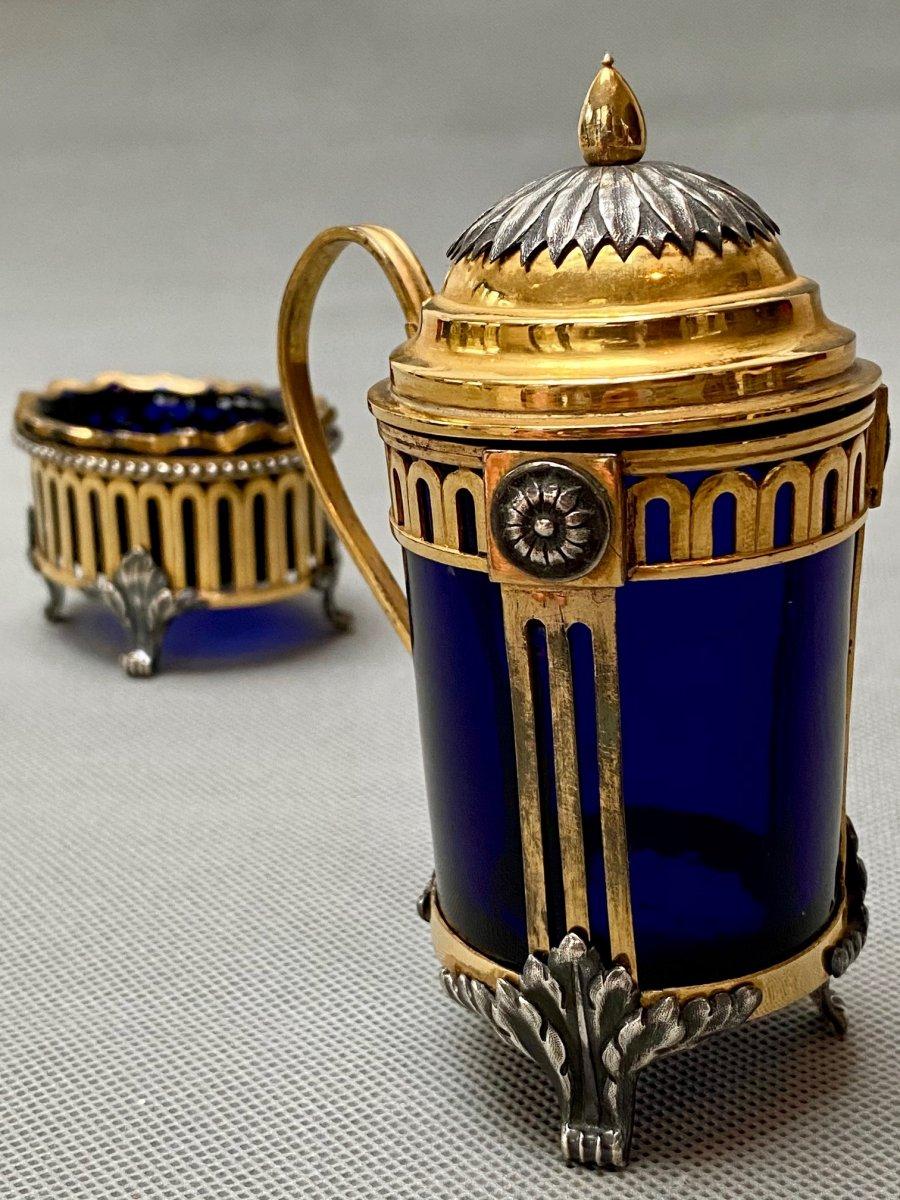 Salière et moutardier Belge du XVIIIe siècle en bronze doré et argenté-photo-3