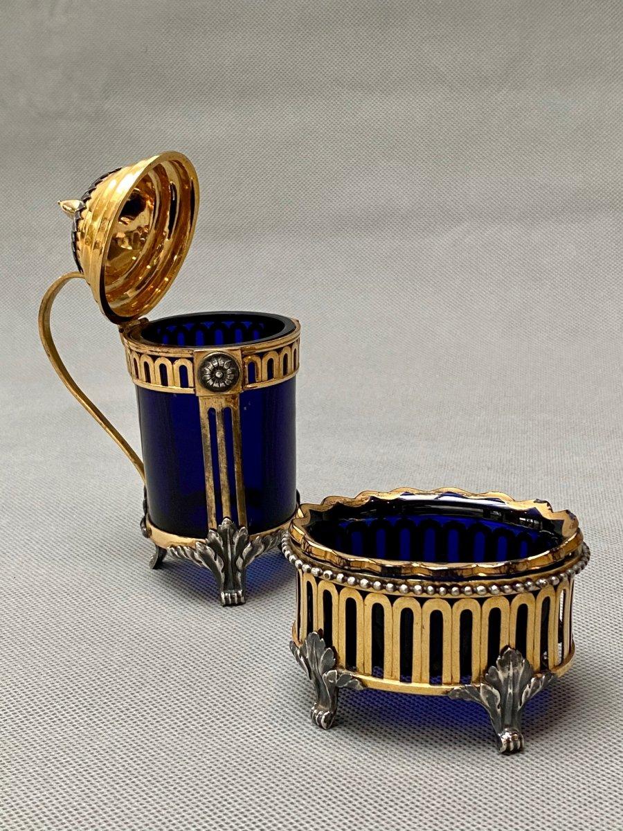 Salière et moutardier Belge du XVIIIe siècle en bronze doré et argenté-photo-1