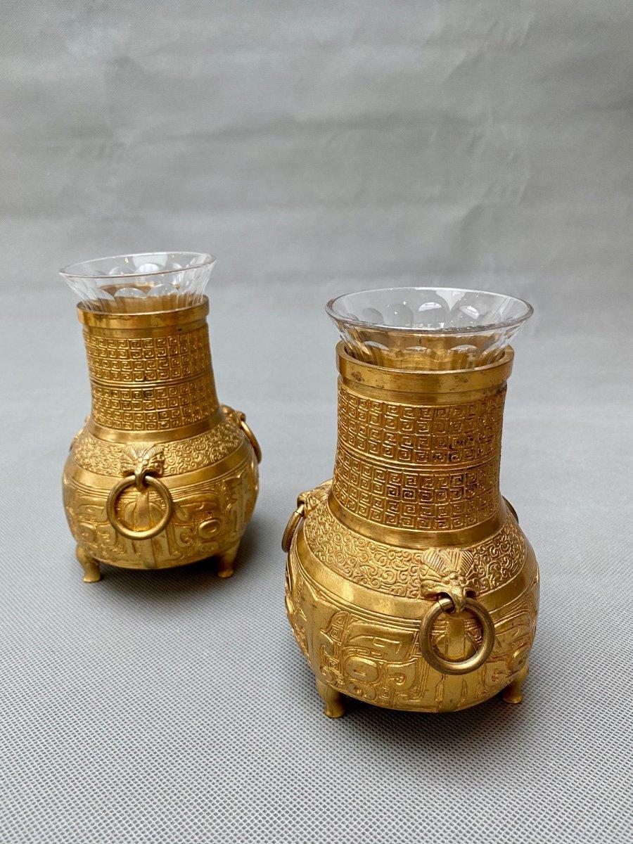 Paire de vases en bronze doré du XIXe siècle par Susse Frères, Paris