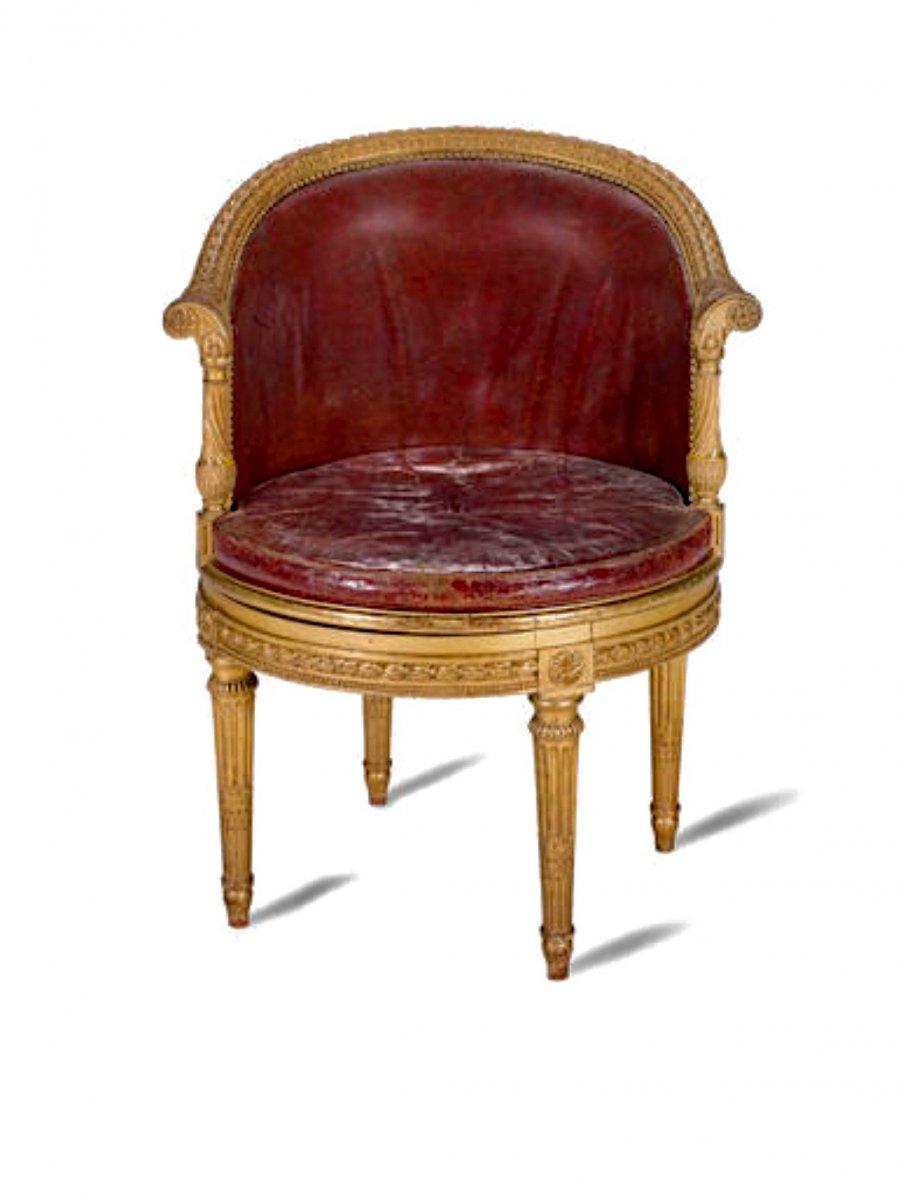 Fauteuil De Bureau En Bois Doré De Style Louis XVI