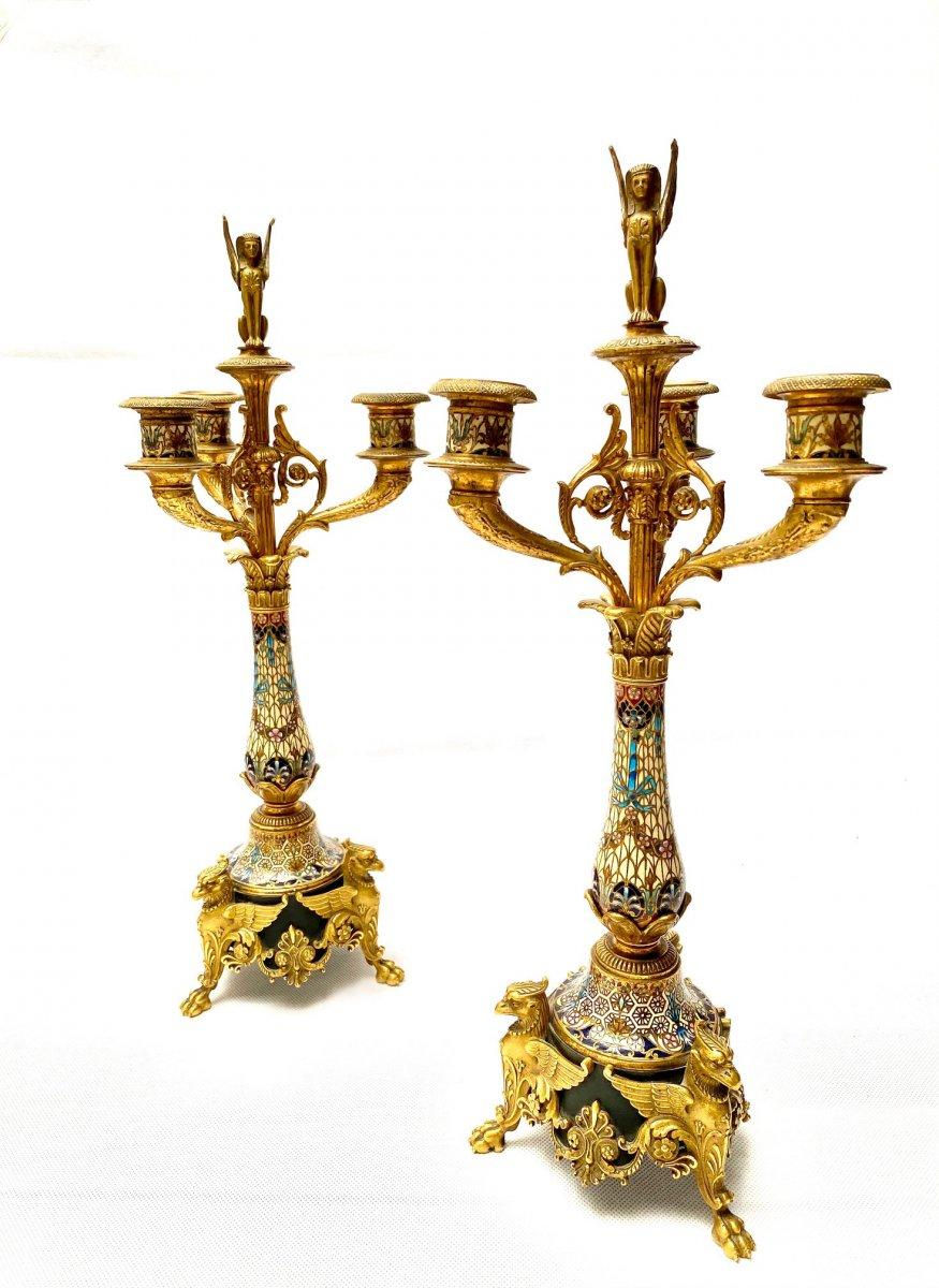 Paire De Candélabres En Bronze Doré Et émail Cloisonné Du XIXe Siècle