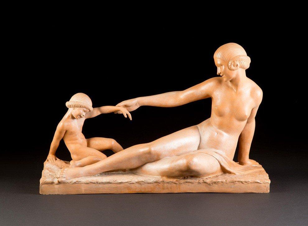 """Marcel-André Bouraine (France, 1886 – 1948), terre cuite """"mère et enfant"""""""