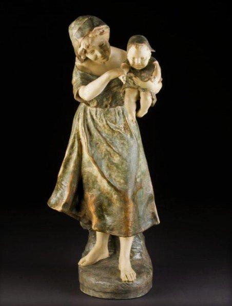 Richard Aurili (italie, 1834 – 1914), Terre Cuite d'Une Jeune Femme Et Son Enfant