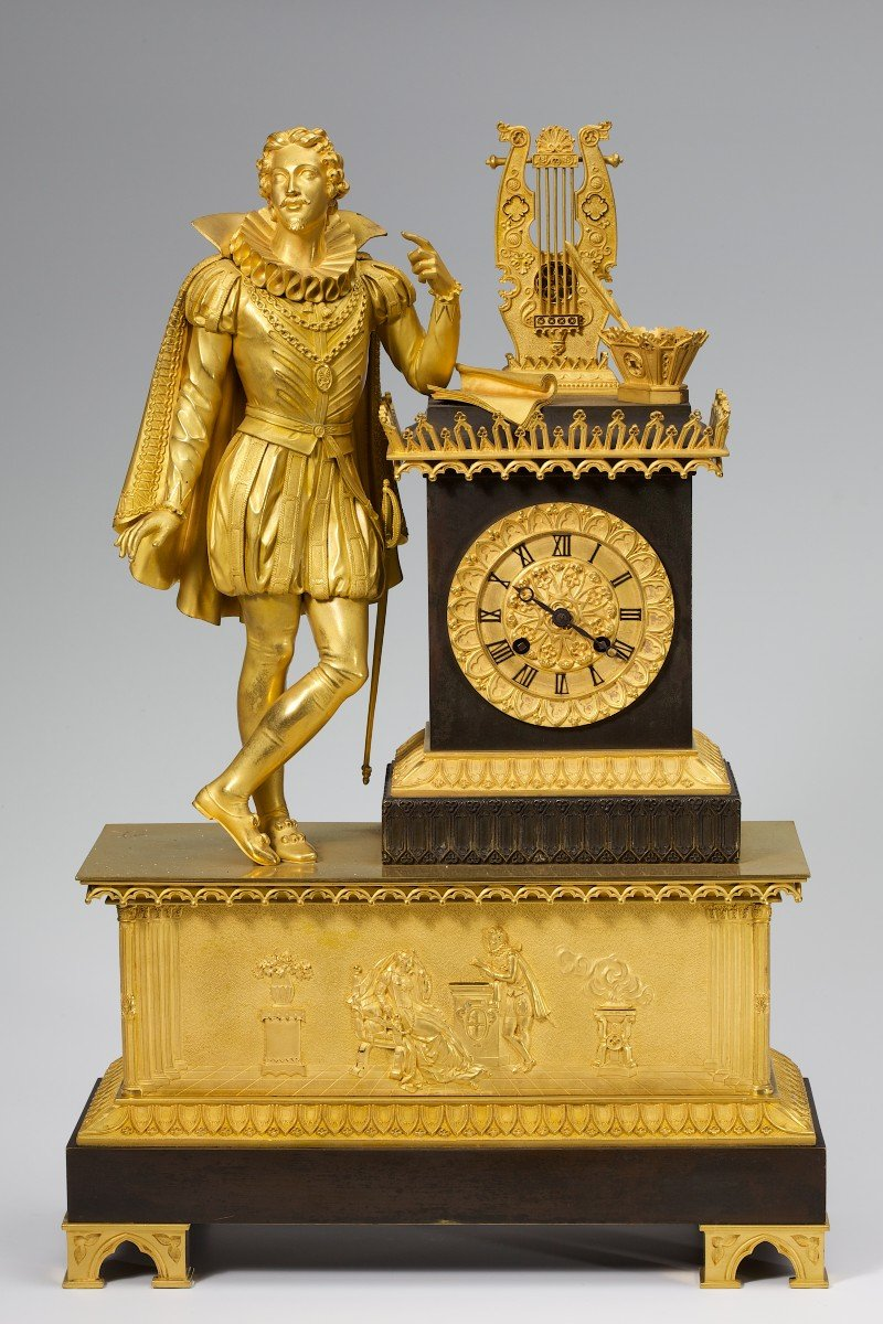 Rare Pendule D'époque Restauration Représentant Le Poète Torquato Tasso