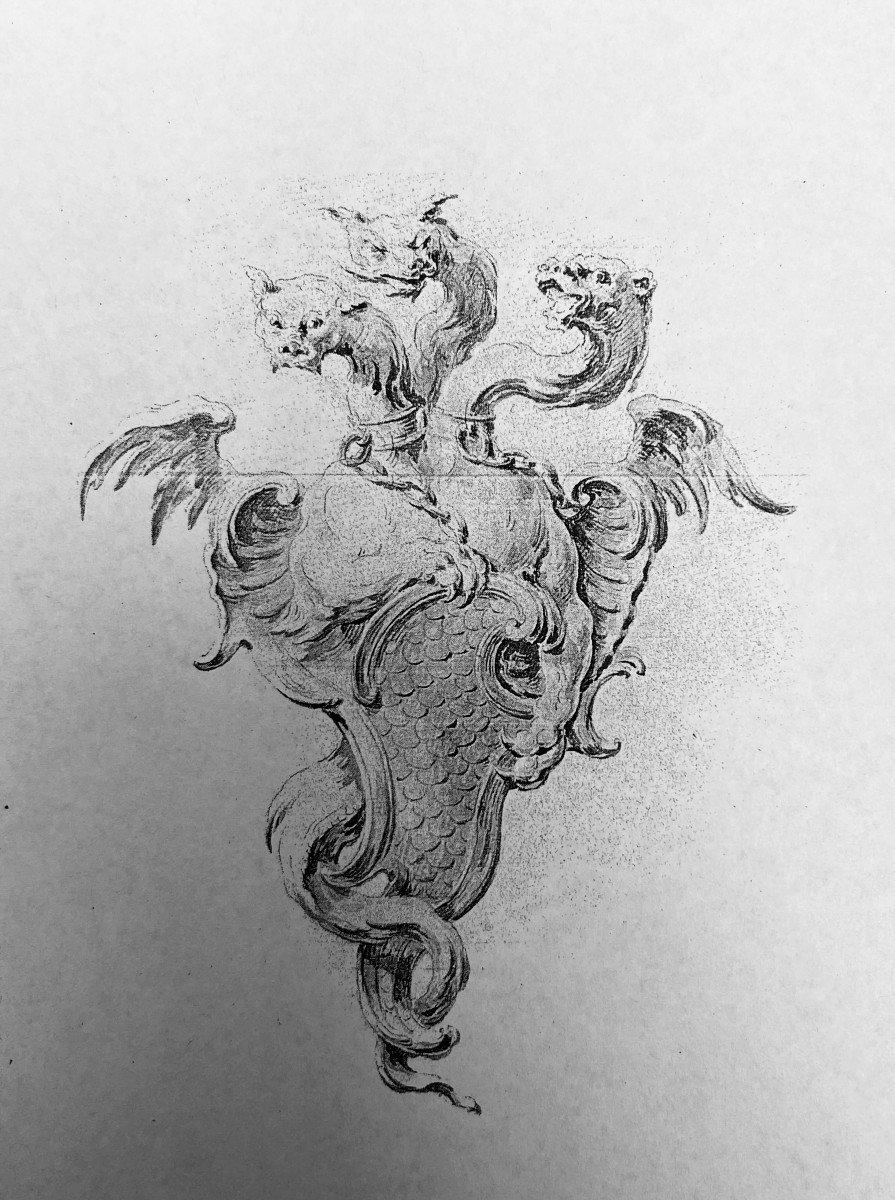 Paire De Chenets Régence En Bronze Doré à Décor De Dragons Ailés-photo-1