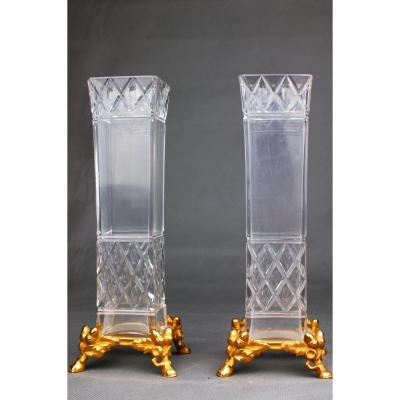 Pair Of Crystal And Gilt Bronze Vases By Baccarat, Paris