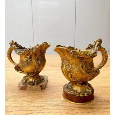 Pair Of Small 19th Century Gilt Bronze And Marble Vases By Ferdinand Barbedienne, Paris