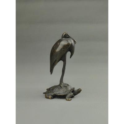 Antoine-louis Barye. Stork Resting On A Turtle. Bronze, Barbedienne Cast, Paris